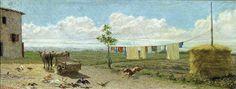 The Farmyard-Raffaello Sernesi (Firenze, 29 dicembre 1838 – Bolzano, 1866)