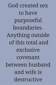 God created sex to have purposeful boundaries. Anything outside  of this total and exclusive covenant between husband and wife is destructive