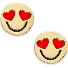 kate spade new york Gold-Tone Smitten Emoji Stud Earrings - Jewelry & Watches - Macy's Emoji Jewelry, Emoji Theme Party, Black Stud Earrings, Kate Spade Earrings, Black Jewelry, Geek Girls, Earring Set, Fashion Jewelry, Gold