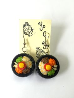 Miniature Bibimbap Earrings by YogiYoAccessories on Etsy Red Pepper Sauce, Funky Earrings, Korean Dishes, Mixed Vegetables, Spice Things Up, Polymer Clay, Dangles, Miniatures, Handmade
