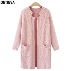 Pink Plus Size Cute Cardigans Sweater Woman Fashion Full Sleeve Autumn Knitted Solid Geomtric Loose Sweaters with Pockets 2017 #ONTINVA #sweaters #women_clothing #stylish_sweater #style #fashion