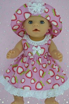 Play n Wear Doll Clothes To Fit 17 Baby Born STRAWBERRY DRESS~HAT