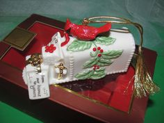 """LENOX 2008 """"From our home to yours"""" Christmas mailbox & Cardinal."""
