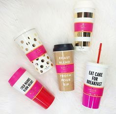 Kate Spade Thermal Mug -- Gold Stripes from ShopbellaC. Shop more products from ShopbellaC on Wanelo. Thermal Mug, Cute Cups, Birthday Wishlist, Gold Stripes, Mug Cup, Girly Things, Girly Stuff, Coffee Cups, Balmain