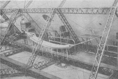 Crew's Quarters on Bodensee, a German Zeppelin. Note Construction of Duralumin Girders Built Up of Numerous Small Pieces.