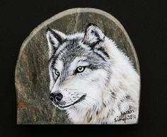 Handpainted+White+Wolf