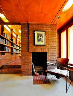 The office/study off living room - Rosenbaum House / 601 Riverview Drive Florence, AL / 1940 / Unisonian / Frank Lloyd Wright