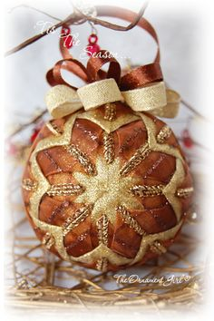 gold quilted ornament