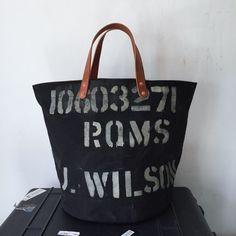 Vintage UK black canvas bucket style tote. Cool original stencil on bag. INDBNP_0295