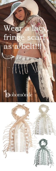 Wear a lacy narrow scarf as a belt!  Spice up a basic pair of jeans with lacy boho-vintage shabby-chic romantic nostalgic lace!  Shop Bohomonde on Amazon today! www.amazon/shops/bohomonde.com