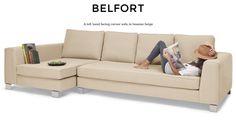 Belfort Left Hand Facing Corner Sofa Group in hessian beige   made.com