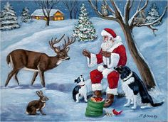 "Santa passing out ""Christmas Treats"" - an original painting by North Carolina artist, Fran Brooks. www.artistnannie.com"
