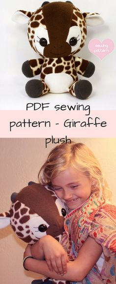 "PDF sewing pattern - Giraffe plush - cute easy cute kawaii DIY stuffed animal large cuddly plushie 16"" Lulu the Baby Giraffe is pinch-her-cheeks adorable, and she loves hugs! Her floppy limbs and large cuddle size make her a great playmate (13"" tall sitting/16"" tall standing; 10"" wide, and 7"" long from toe to tush). This soft toy is made of cuddly fleece or minky, and is durable with strong, hidden seams. #ad #giraffe #plush #stuffedanimal #gift #giftforkids #babyshower #nurserydecor…"