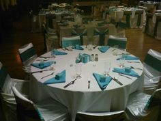 #Tiffany themed #banquet. For such a small, outdated venue, the #turquoise really made a difference!
