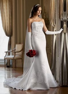 This is the gown I wore - simple, classy - beautiful! And fit perfectly!  I even did the long white gloves, and all red rose bouquet :) what a wonderful wedding we had!