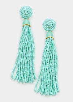 Mint Beaded Tassel Earrings - $22 + free shipping from elleandk.com