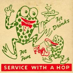 Green Frog Lounge detail of a vintage match pack from El Paso, TX Light My Fire, Vintage Images, Illustration, Matchbox Art, Frog Illustration, Matchbook Art, Frog Art, Ephemera, Vintage