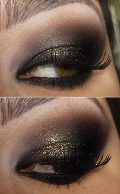 Her eyes are creepin me out a little, but I LOVE the gold mix to the smokey eye!