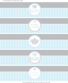 printable little prince baby shower in blue and grey water bottle labels by on