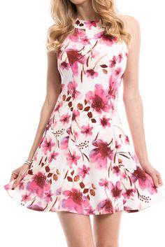 Floral Print Crossed Straps Back Detail Dress