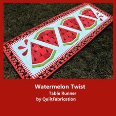 Patchwork Table Runner, Table Runner Pattern, Quilted Table Runners, Burlap Table Runners, Watermelon Quilt, Watermelon Ideas, Watermelon Designs, Watermelon Carving, Painted Picnic Tables