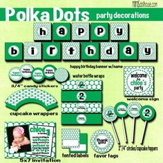 POLKA DOT PARTY PRINTABLE COLLECTION http://mimisdollhouse.com/product/polka-dot-party-printable-collection/