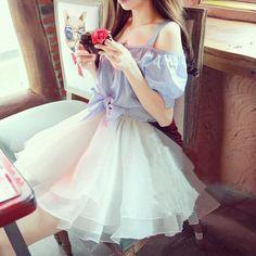www.sanrense.com - Korea sweet sling strapless organza dress