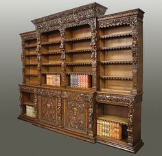 ~ Exceptional quality mid 19th century oak breakfront antiquarian open bookcase in the Renaissance style c. 1860 England ~ onlinegalleries.com