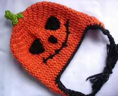 Jack-O-Lantern earflap hat pattern on Craftsy.com $4