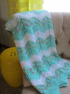 Chevron BABY BLANKET in Soft Aqua and White. by Bluetulipgifts, $44.00