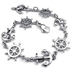 Stainless Steel Love Anchor & Helm Charms Bracelet, Color Silver - InnovatoDesign