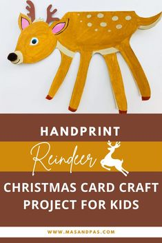 Handprint crafts are such a fun and easy craft ideas for kids, and this reindeer version turns into the perfect Christmas greeting card project! Trace around your child's hand and have them paint the paper reindeer, add some simple antler and face details, and turn it into a unique greeting card that family and friends will love to recieve this Christmas! #reindeercrafts #handprintcrafts #kidschristmascrafts #easykidscraft #christmascraftideas