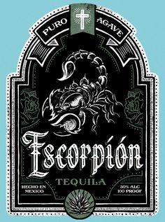 Escorpión Tequila Label by Derrick Castle Vintage Typography, Vintage Fonts, Typography Fonts, Lettering Design, Logo Design, Graphic Design, Beer Label Design, Packaging Design, Chalk Art