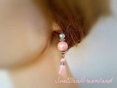 pink tassel earrings elegant pink jewelry tassel Pink Tassel Earrings, Tassel Jewelry, Pink Jewelry, Trendy Jewelry, Modern Jewelry, Fashion Jewelry, Drop Earrings, Unique Jewelry, Dusty Pink