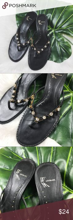 White Mountain Embellished Black Low Heel Sandals Excellent used condition! All jewels are in place & shoes show very little signs of wear. Shoes have a leather upper. White Mountain Shoes Sandals