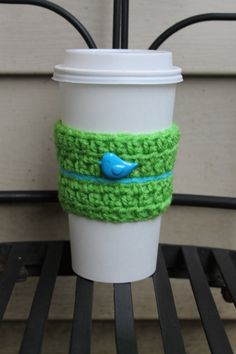 Green Coffee Cozy with Blue Bird by AMedleyofJen on Etsy, $5.50