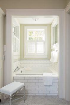 Tub Surround: Soho White Matte Subway with Carerra marble accent band White Brick Tiles, Tile Tub Surround, Drop In Bathtub, Bathtub Remodel, Bathroom Inspo, House Rooms, White Marble, Sweet Home