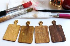 DIY: Miniature Cutting Boards w/ Recycled cardstock