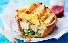 Fish And Chip Pie A bottom layer of minted pea puree, then tender cod chunks in a béchamel based tartare sauce, topped with chips and smoked sea salt in an all-butter shortbread pastry.