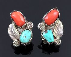 OLD ZUNI HANDMADE STERLING SILVER TURQUOISE & CORAL EARRINGS