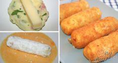 Luxusní delikatesa, kterou máme raději než klasický smažený sýr. Bramborová kaše ochucená slaninou dodá sýru uvnitř vynikající požitek. Určitě vyzkoušejte. Autor: Triniti Snack Recipes, Snacks, Budget Meals, Avocado Toast, Feta, Bacon, Good Food, Paleo, Pork