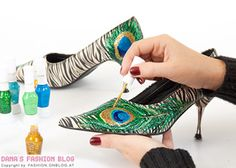 Use nailpolish to paint peacock feathers on shoes