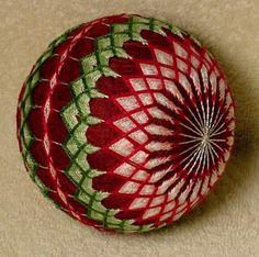 Japanese-Temari-Ball-13-034-around-034-2-Delightful-flowers-24-buds-24-leaves-034
