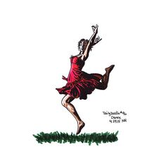 No.96 Dance / Illustration / Daily Doodle  Art Print by nhanusek