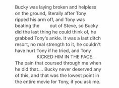 Tony's blind rage over the death of his parents is Cap's blind arrogance to anything that isn't Bucky. It's a beautiful contrast of pain ok let me sob my eyes out now