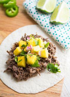 ... Cooker Caribbean Beef Tacos with Mango Salsa | sweetpeasandsaffron.com
