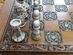 Ornate Themed Chess Set Matching Board by on DeviantArt Grandmaster Chess, Chess Boxing, Chess Set Unique, Chess Table, Art Through The Ages, Wood Carving Designs, Chess Pieces, Game Design, Art Boards