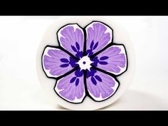 ▶ Millefiori cane Purple Flower (polymer clay tutorial) - YouTube