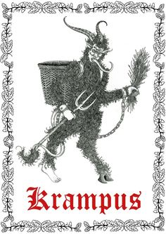 The original drawing I was asked to make for for their Krampus themed Christmas shirt. Medieval Fashion, Love Illustration, True Art, Romanticism, Outsider Art, Psychedelic Art, Christmas Shirts, Illustrators, Hand Lettering