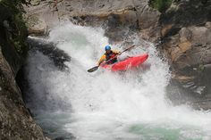 Tim Trew coming off the Trumpet at Trumpet Falls on the Sermenzino during the Valsesia River Festival 2011  See http://gene17kayaking.com/whitewater-kayaking-trips/piemonte-steep-creeking/
